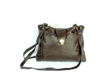Large Leather Shoulder Bag - Slouchy Leather Satchel -  Dark Brown Leather Tote