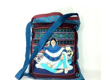 Large Native American Tote - Navajo Tribal Bag - Linen Canvas Hand Made Tote