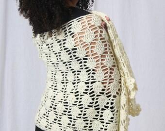 Crochet shawl, White crochet shawl, Bridal shawl, Crochet wedding shawl- Knit stole- Wedding accessories