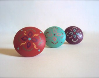 "Three Floral Knobs - Wooden Boho Dresser Drawer Knob - Hand Painted Cabinet Cupboard Knobs - Decorative Bohemian Door Knobs - 1 1/2"" Knob"