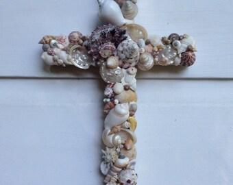 Seashell Cross/Beach House Decor/Reclaimed Wood Cross