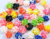 30 Flower Cabochons, Multi Color Glitter Roses, Assorted Mix 11mm, Jewelry Supplies