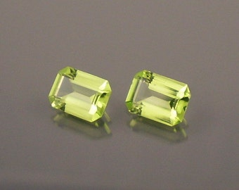Peridot: 1.76ct Green Emerald Shape Gemstone Pair, Match Set, Natural Hand Made Faceted Gem, Loose Precious Mineral, Jewelry Supply 20030