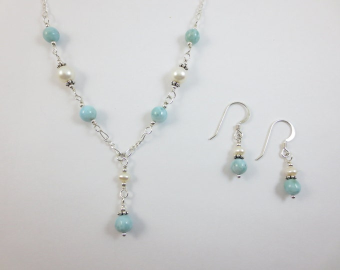 Larimar with Fresh Water Pearls Bead Y Necklace & Earrings on Sterling Silver or 14k Gold Fill - Bead Jewelry - Beaded Jewelry