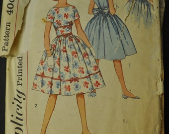 Simplicity 2931 One-Piece Dress Sub-Teen Vintage Sewing Pattern Size 8 s Vintage 1950s Sewing Pattern