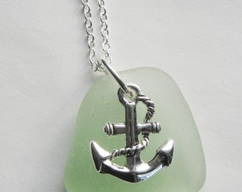 Set of 5 personalized sea glass necklaces - sea glass, anchor and initial. Bridal set, beach wedding, nautical jewelry