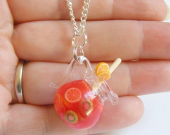 Food Jewelry Jug of Sangria Necklace, Sangria Pendant, Miniature Food, Mini Food Jewelry, Wine Lover, Pitcher Necklace, Kawaii Jewelry
