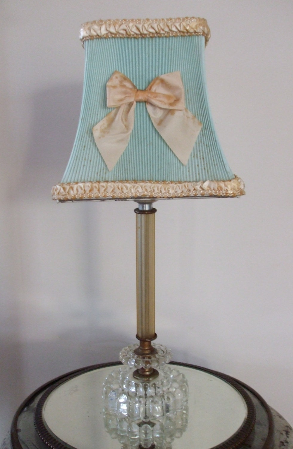 vintage clip on shabby chic celluloid lamp shade. Black Bedroom Furniture Sets. Home Design Ideas
