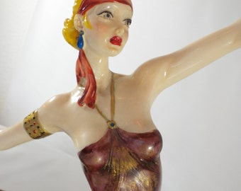 Italian Statue, Amiloare Santini Art Deco Lady, Made in Italy, Signed Collectors Figurine, Dancing Lady, Dancing Figurine, Italian Statue