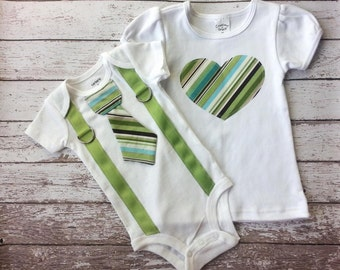 Big sister, Little brother shirt and bodysuit set, tie for him heart for her, matching, green, blue, brown, photo prop, gift, child fashion