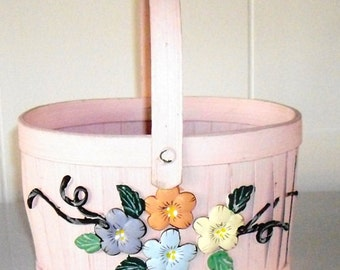 Vintage Wood Spring Basket, woven pink basket with Ceramic Pastel Flowers, flower girl basket, Baby Shower Basket,