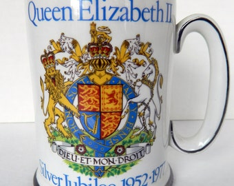 Queen Elizabeth II, Silver Jubilee, 1950s, 1952-1977, large mug, tankard, Wood and Sons, England, Very Good Vintage Condition