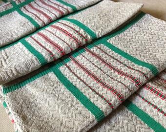 Vintage French Unusual Hemp Cotton Torchons ~ Pyrenees, France ~ Kitchen Tea Towel Napkins ~  Striped