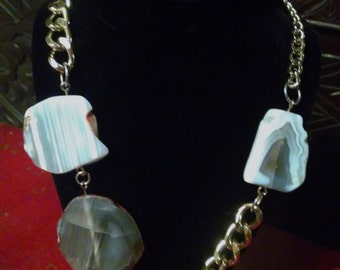 Funky Large Sliced Agate Artist Necklace on Heavy Chain