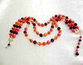 Three Strand Bead  Necklace  Marked Hong Kong 1960s
