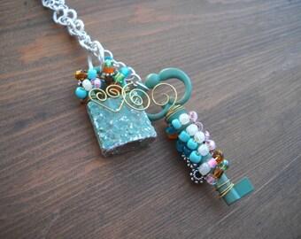 Verdigris Lock and Key Necklace, Statement, Steampunk, Boho, Cottage Chic, Hippie