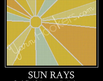 Sun Rays - Afghan Crochet Graph Pattern Chart - Instant Download