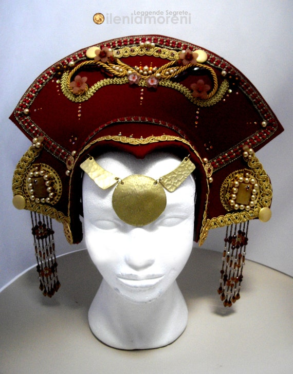 READY TO SHIP Oriental Princess headdress, Whimsical Fantasy Hair Style, Larp, Wiccan ritual wedding sorceress drag queen burning man
