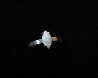 Size 5.75 Opal Ring, Sterling Silver, Australian Opal