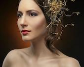 GOLDIES-fascinator,made by hand.Handmade fascinator.OOAK hair accessory.Gold plated fascinator.Wirewrapped fascinator.Wirework.