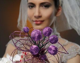 Not an usual bridal bouquet. OOAK wedding bouquet.Bridal bouquet.Beadwoven bridal bouquet. Wirework bridal bouquet.Green and purple bouquet.
