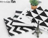 Black and White Cotton Fabric - Chevron, Stripe, Star or Triangle - Geometric By the Yard - GJ 40754