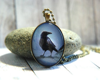 Oval Glass Pendant Necklace, 30mm x 40 mm -  Raven in the Rain