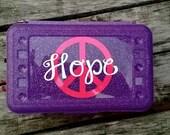 Personalized Peace Sign Monogram Pencil Box Crayon Box Art Box Pencil/Art Box -- Free Shipping in USA