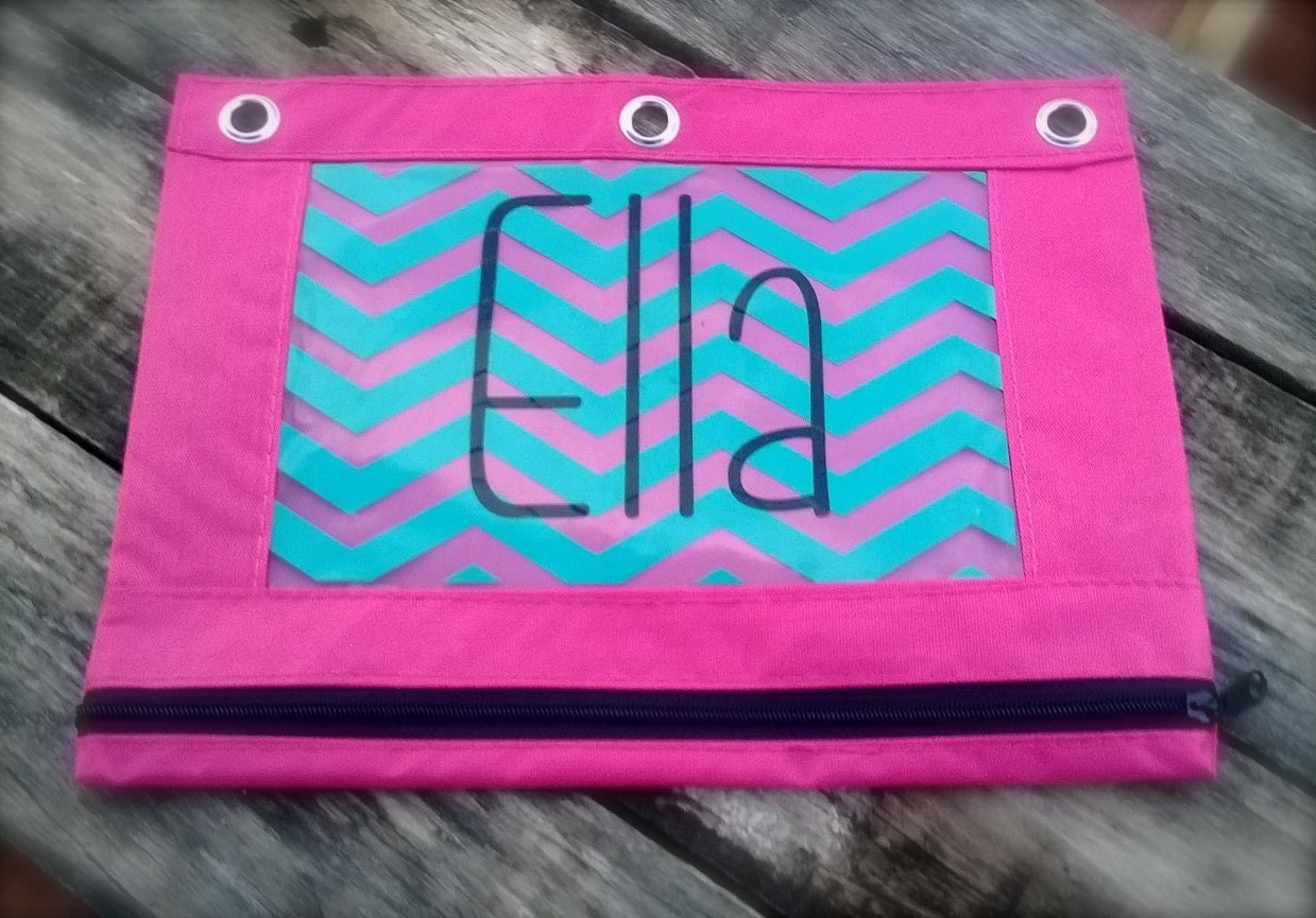 Personalized Chevron 3 Ring Binder Pencil Bag Pencil Pouch