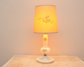 Mid Century Roses Table Lamp Hand Painted Shade