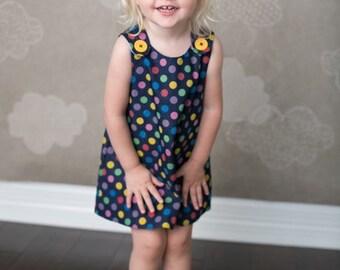 Children clothing - Denim Spot -Girl Dress - Baby girl - Toddler girl dress - size 0-3m, 3-6m, 6-12m, 12-18m, 18-24m, 2T, 3T, 4T, 5T