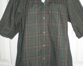 Peasant Blouse upcycled from a men's shirt 46 inch L green plaid
