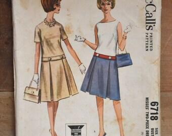 vintage 1960s dress pattern: mccalls 6718