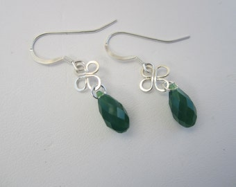 St. Patrick's Day Silver Bloom Wire Earrings with Green Crystals