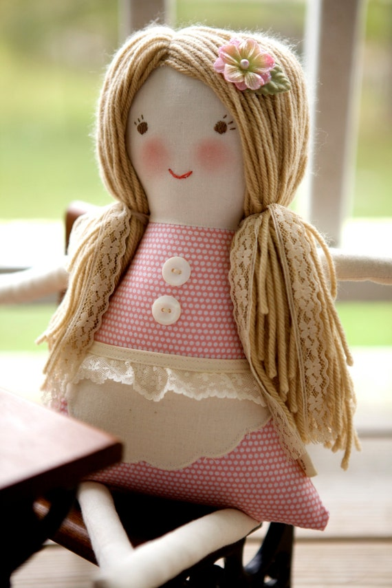 Handmade Cloth Doll, Waldorf Rag Doll, Vintage Lace, Florence