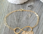 Personalized Mother Mom 14k gold filled Infinity bracelet, initial heart charms, monogram letter custom Stamped,one two three four 1 2 3 4 5