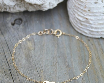 Child bracelet, Little girl bracelet, 14k gold filled tiny stamped initial heart tag, personalized monogram, letter, children jewelry
