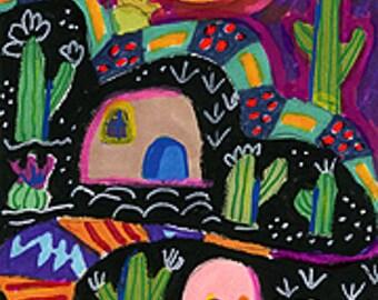 Whimsical Desert Scene, Southwestern Art Print, Green And Black Print, Kids Room Decor, Cactus, Desert Morning by Paula DiLeo_11311