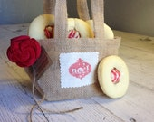 Burlap Christmas Gift Bags- Set of 3 by Burlap and Linen Co