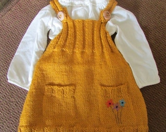 Toddler Girl's Dress or Tunic Hand Knit in a Washable Wool Yarn with an Embroidered Pocket