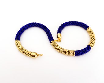 Blue Rope Necklace/Golden Necklace/Beaded Necklace/Christmas gifts/Statement necklace/Gift Idea/Virtù n.6
