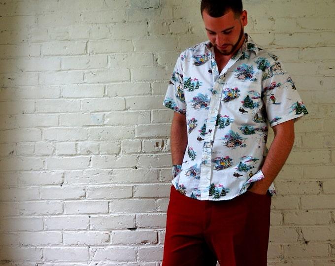 Reyn Spooner 91 Special Edition Vintage Ahola Shirt MELE KALIKIMAKA Collectible Medium White Cotton Hawaiian Winter Christmas Snow Sledding