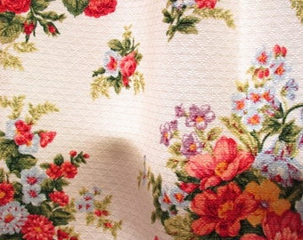 GORGEOUS Waverly Floral Curtains White Quilted Cotton 7 Curtain Panels