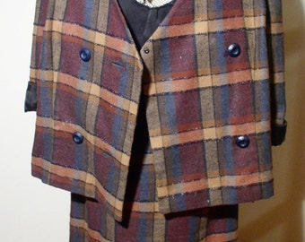 Adorable Vtg 60s CLUELESS Textured PLAID SUIT! Small to Medium