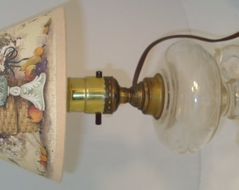 VIntage Etched Glass Oil Lamp Converted to Electric