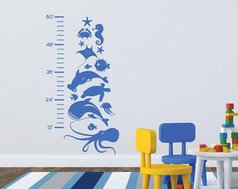 Kids Growth Chart Wall Vinyl Sea Life Marine Animals removable wall vinyl sticker decal fish shark octopus jellyfish seahorse boys girls art