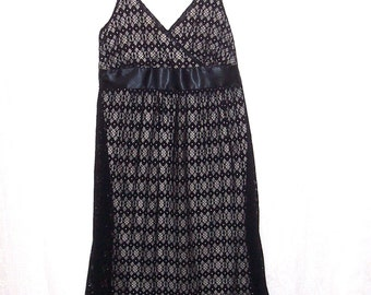Size 16 - Vintage Girls' Dress  - crocheted lace - parties, holidays - black and cream