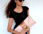 Nude leather clutch with brown genuine snakeskin / Handmade leather bag