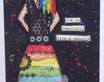 Rainbow girl greetings card