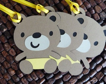 Teddy Bear Gender Neutral Tags - set of 12